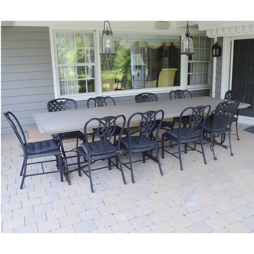 Large vintage black wrought iron base patio table ebth for Outdoor table bases wrought iron