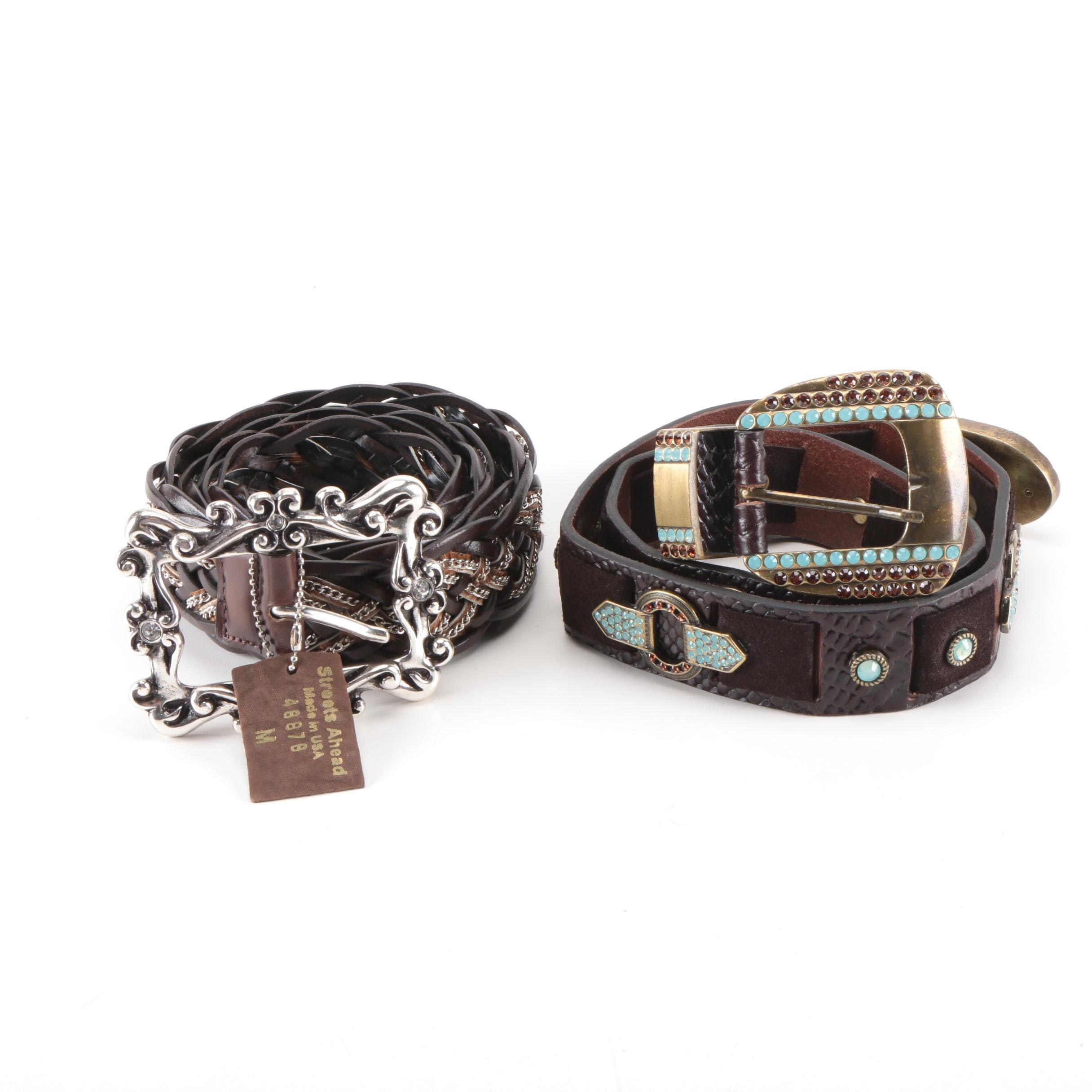 Two Leather Belts with Embellishments