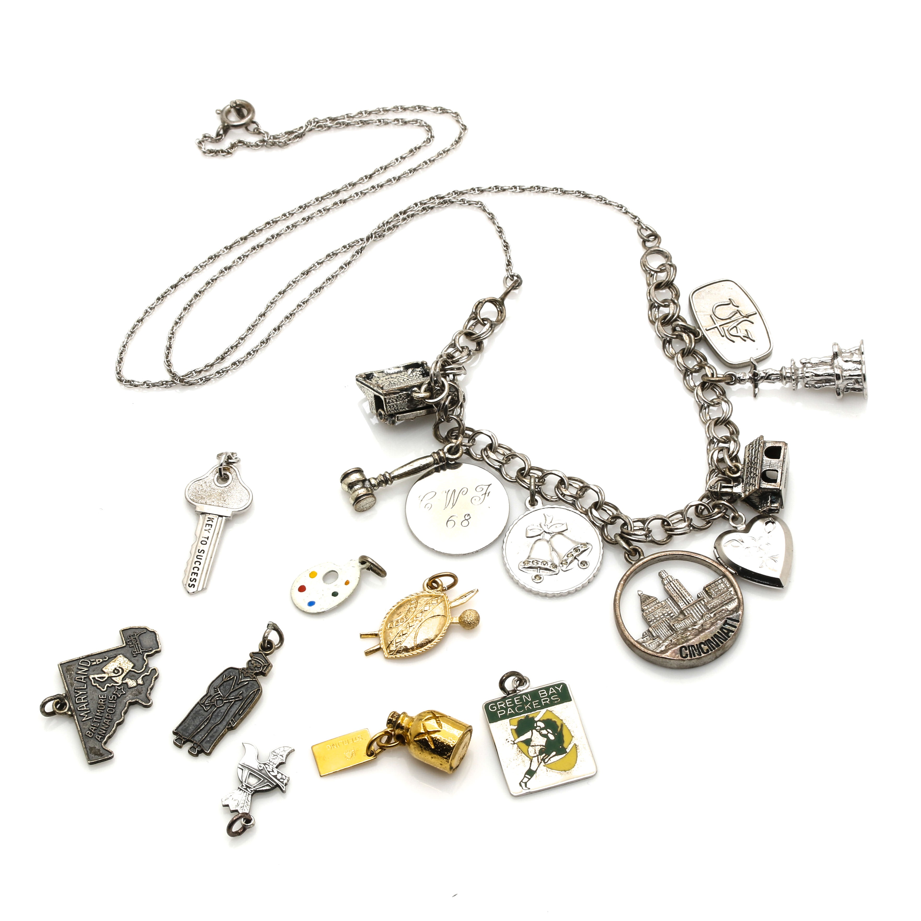 Sterling Silver Charms and Charm Necklace Featuring Danecraft