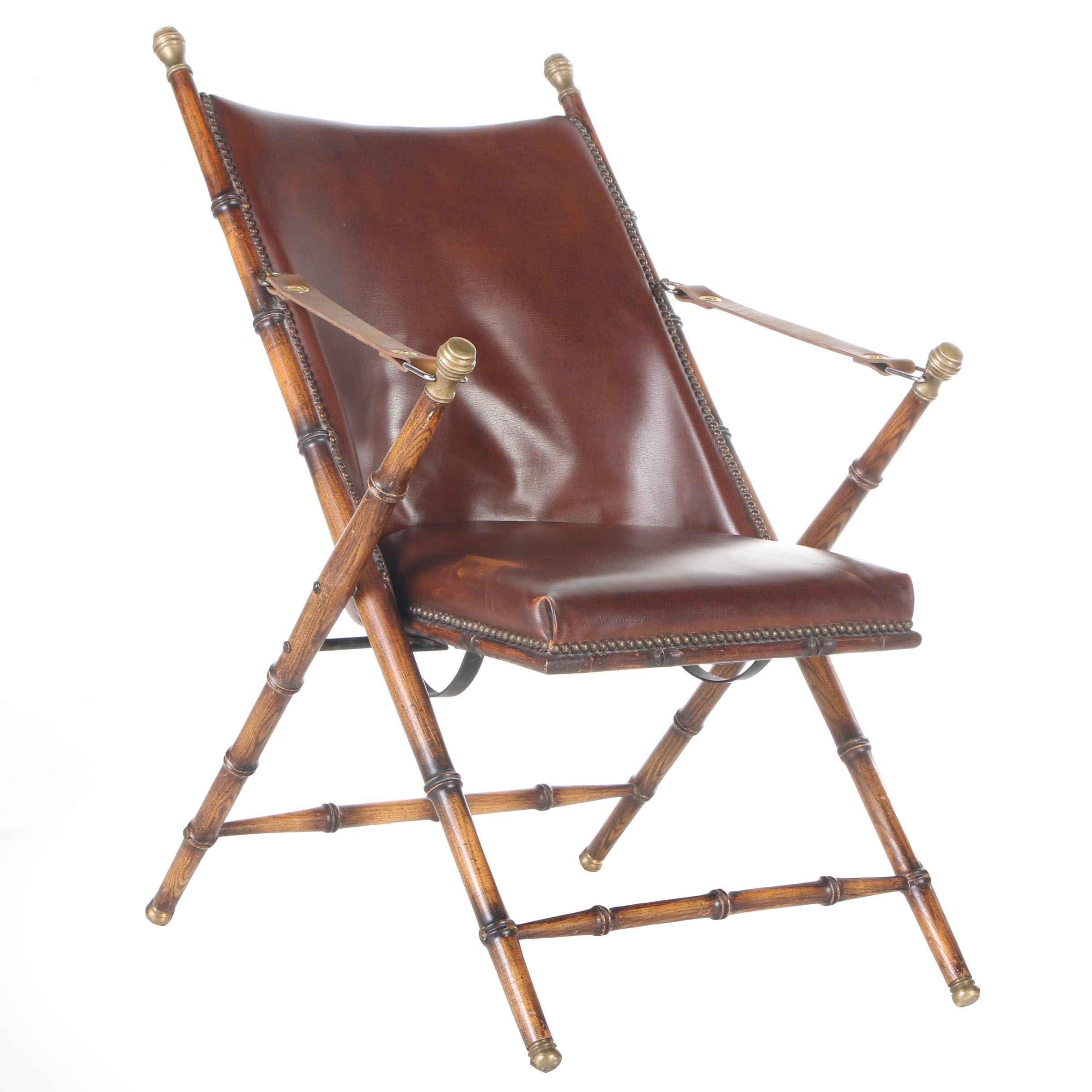 Vintage Faux Bamboo And Leather Folding Campaign Chair ...
