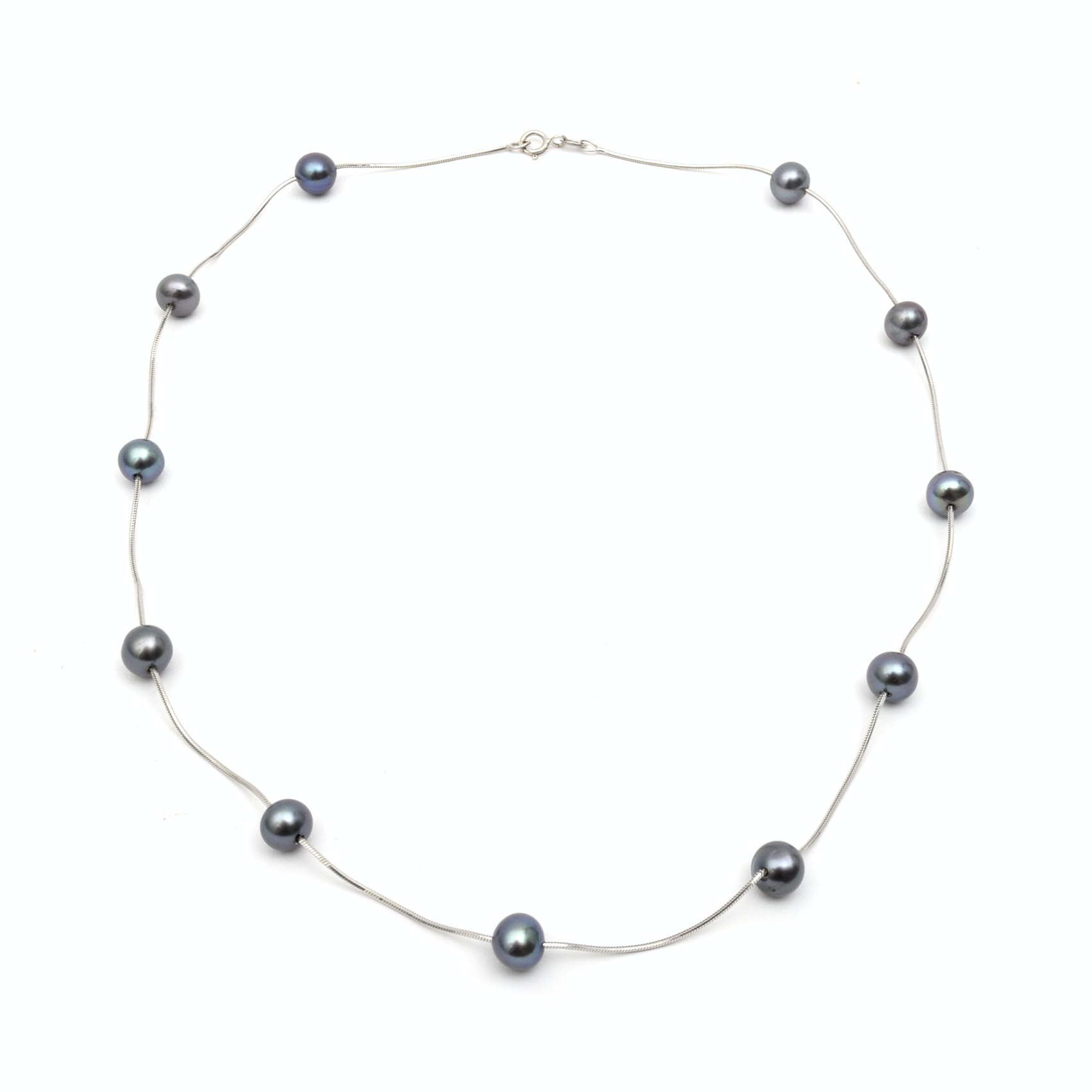 14K White Gold and Black Freshwater Pearl Collar Necklace