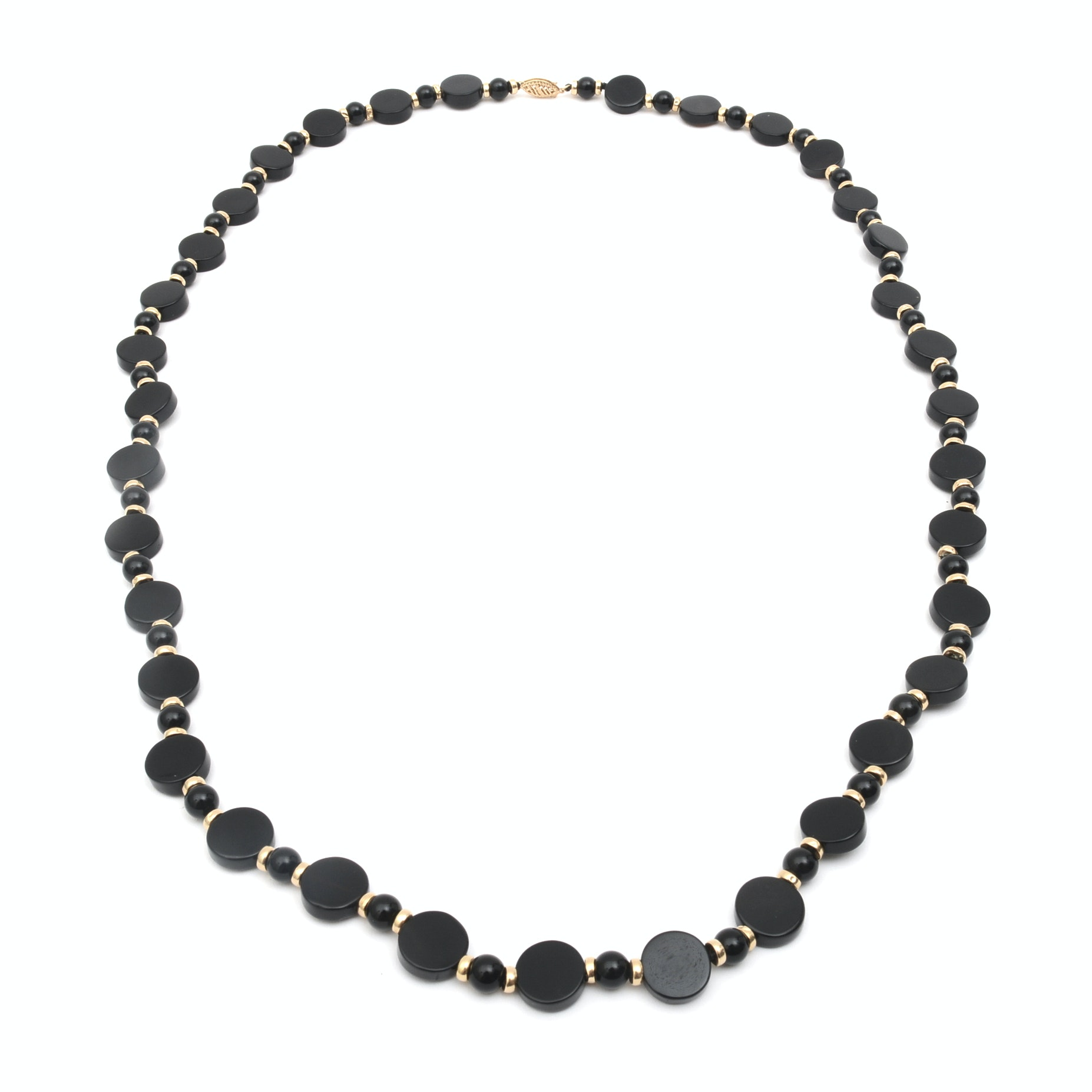 14K Yellow Gold and Graduated Onyx Disc Necklace