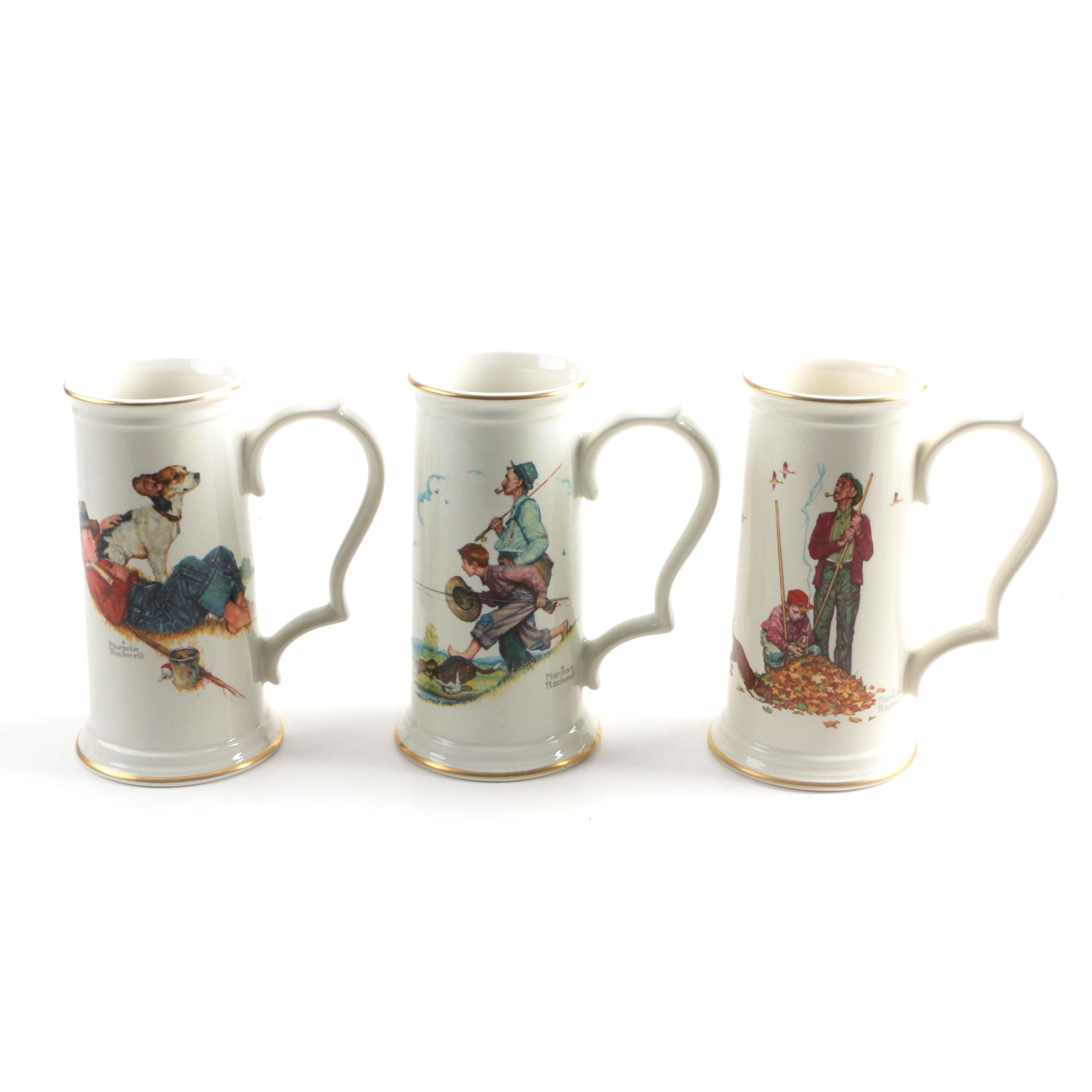 Three Gorham Norman Rockwell Mugs