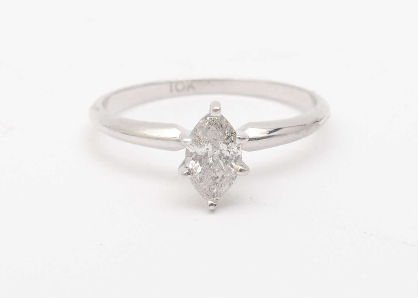 10K White Gold and Marquise Cut Diamond Solitaire Ring