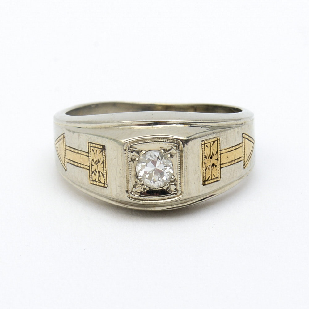 Antique 18K Two-Tone Gold and Old European Cut Diamond Ring