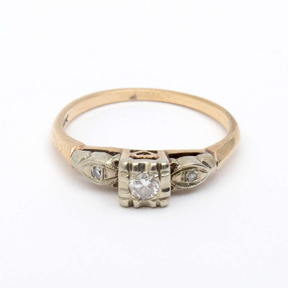 Antique 14K Two-Tone Gold and Old Mine Cut Diamond Engagement Ring