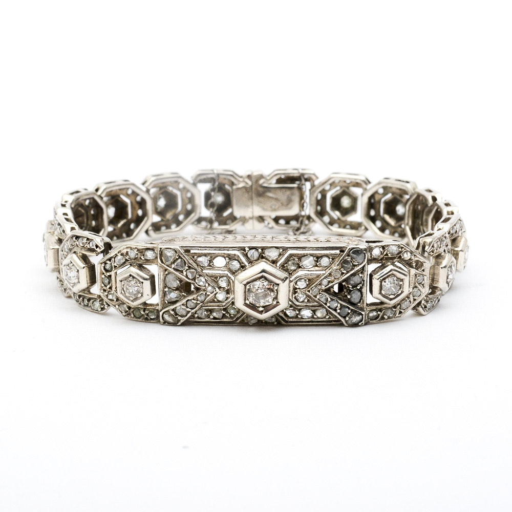 Edwardian Platinum and 3.00 CTW Diamond Link Bracelet