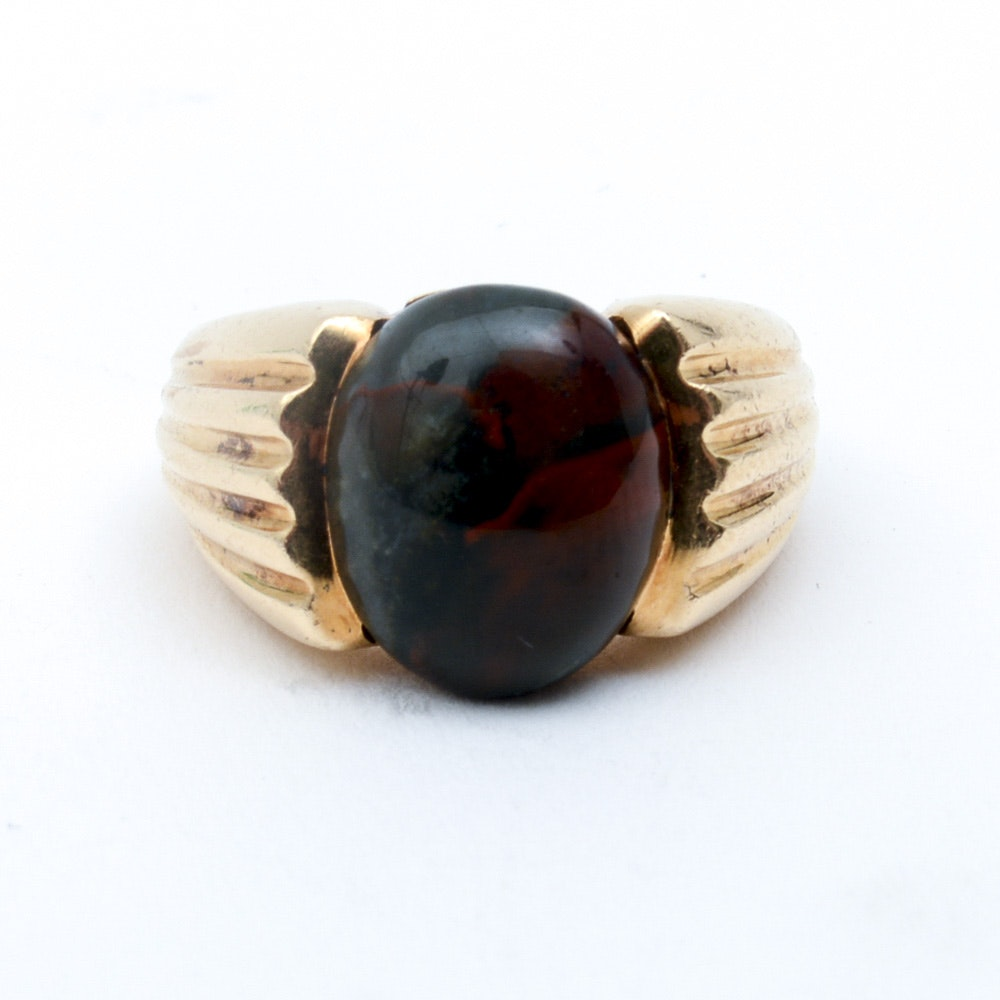 Men's 14K Yellow Gold and Bloodstone Ring