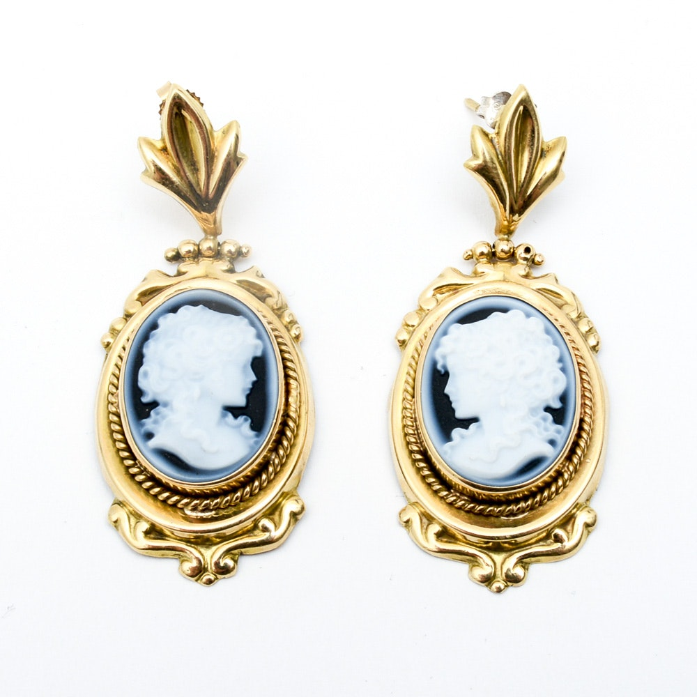 Vintage 18K Yellow Gold and Carved Onyx Cameo Earrings