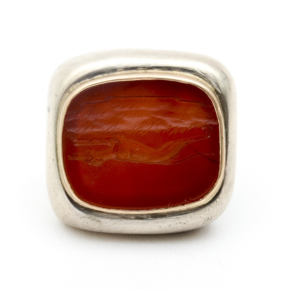 Sterling Silver, 14K Yellow Gold, and Carved Carnelian Intaglio Ring