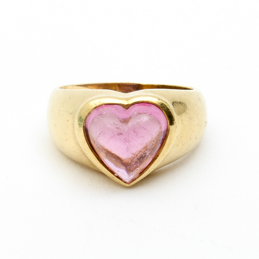 18K Yellow Gold and Heart Shaped Pink Tourmaline Ring