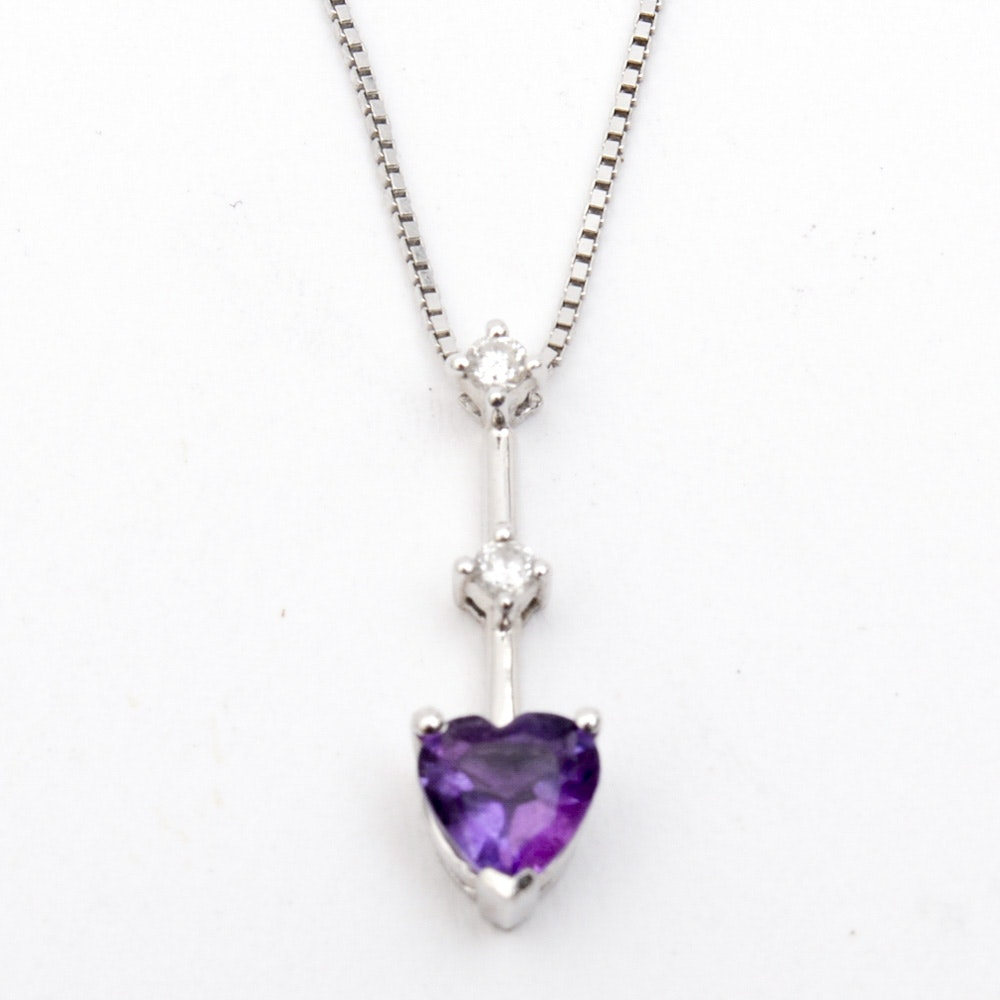 14K White Gold, Amethyst, and Diamond Pendant Necklace