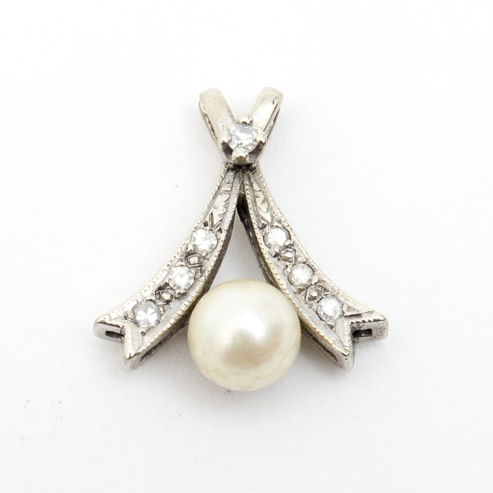 14K White Gold, Cultured Pearl, and Diamond Pendant