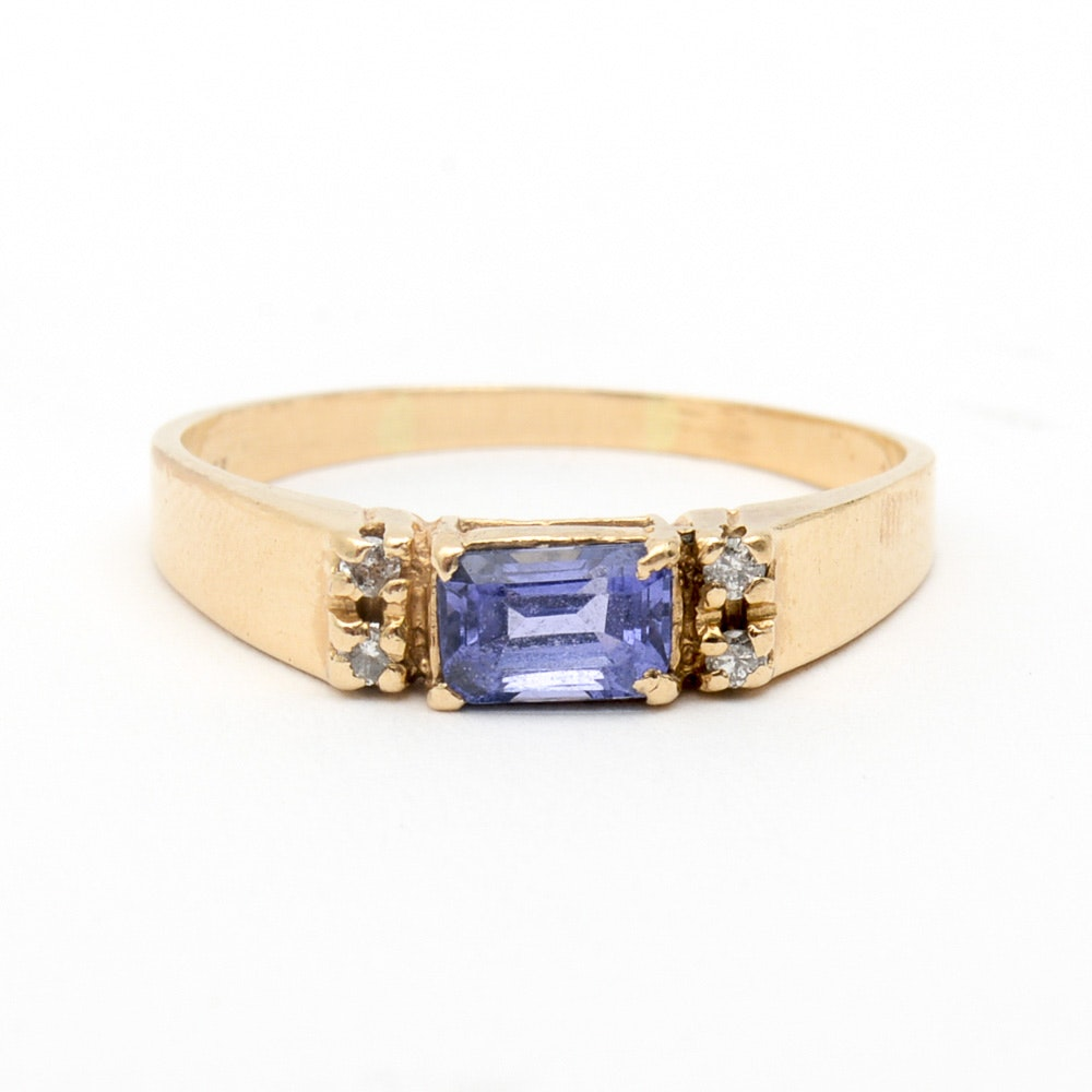 14K Yellow Gold, Tanzanite, and Diamond Band
