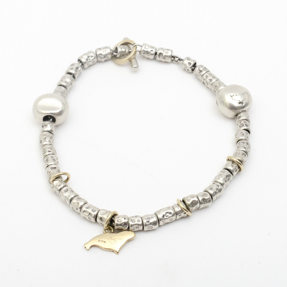 Sterling Silver and 18K Yellow Gold Beaded Toggle Bracelet