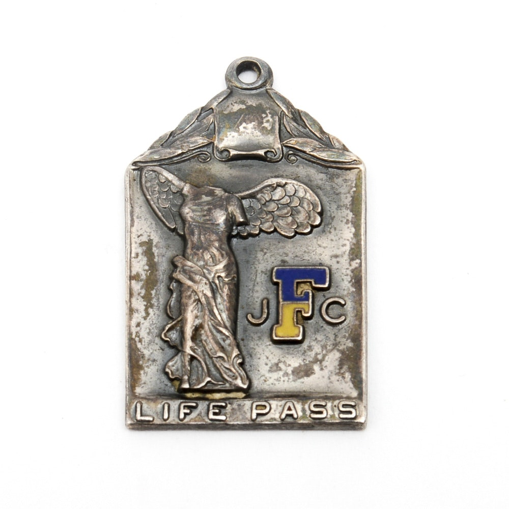 Vintage Sterling Silver Winged Victory of Samothrace Medal