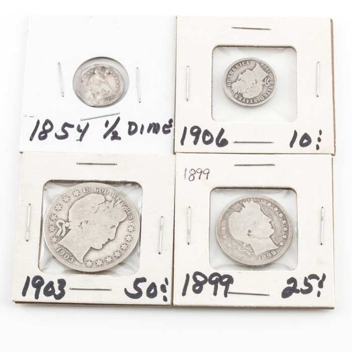 Group of Barber Silver Coins and a Liberty Seated Half Dime
