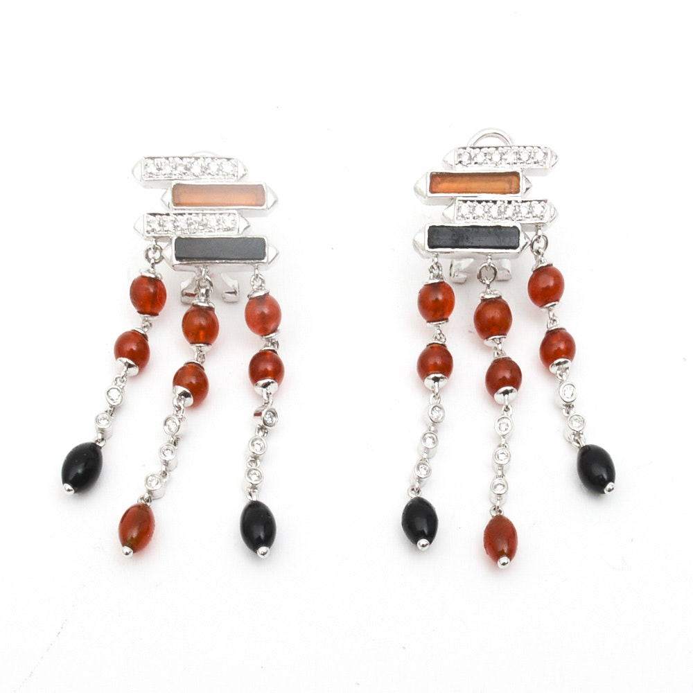 14K White Gold, Diamond, Carnelian, and Onyx Chandelier Earrings