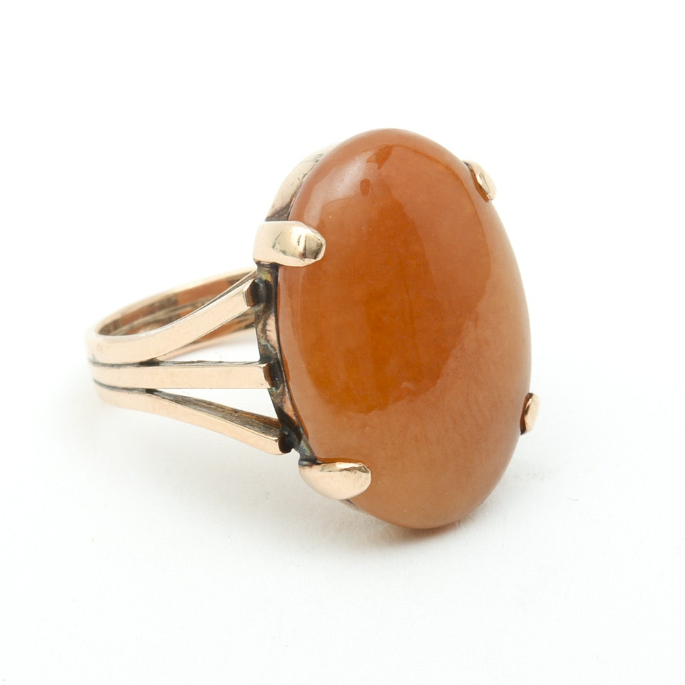 14K Yellow Gold and Dyed Orange Jade Cocktail Ring