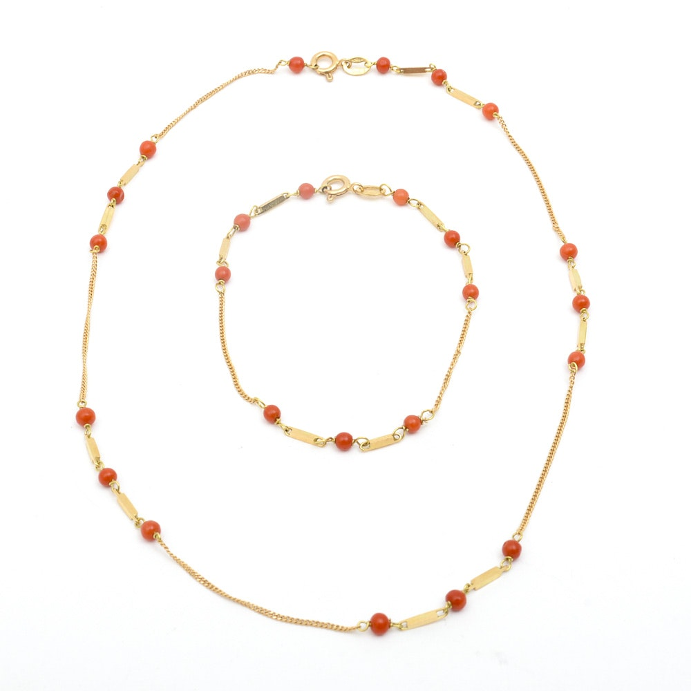 18K Yellow Gold and Coral Demi Parure