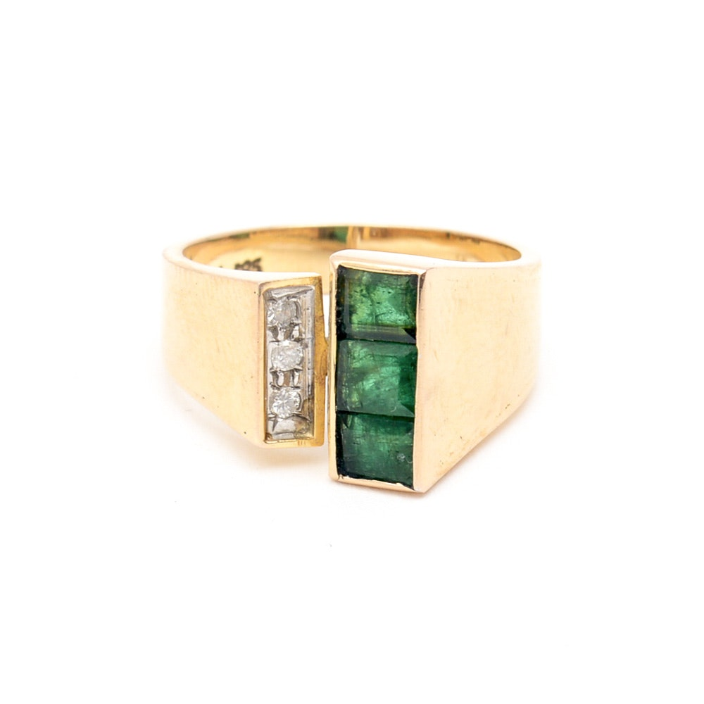 14K Yellow Gold, Synthetic Emerald, and Diamond Open Front Ring