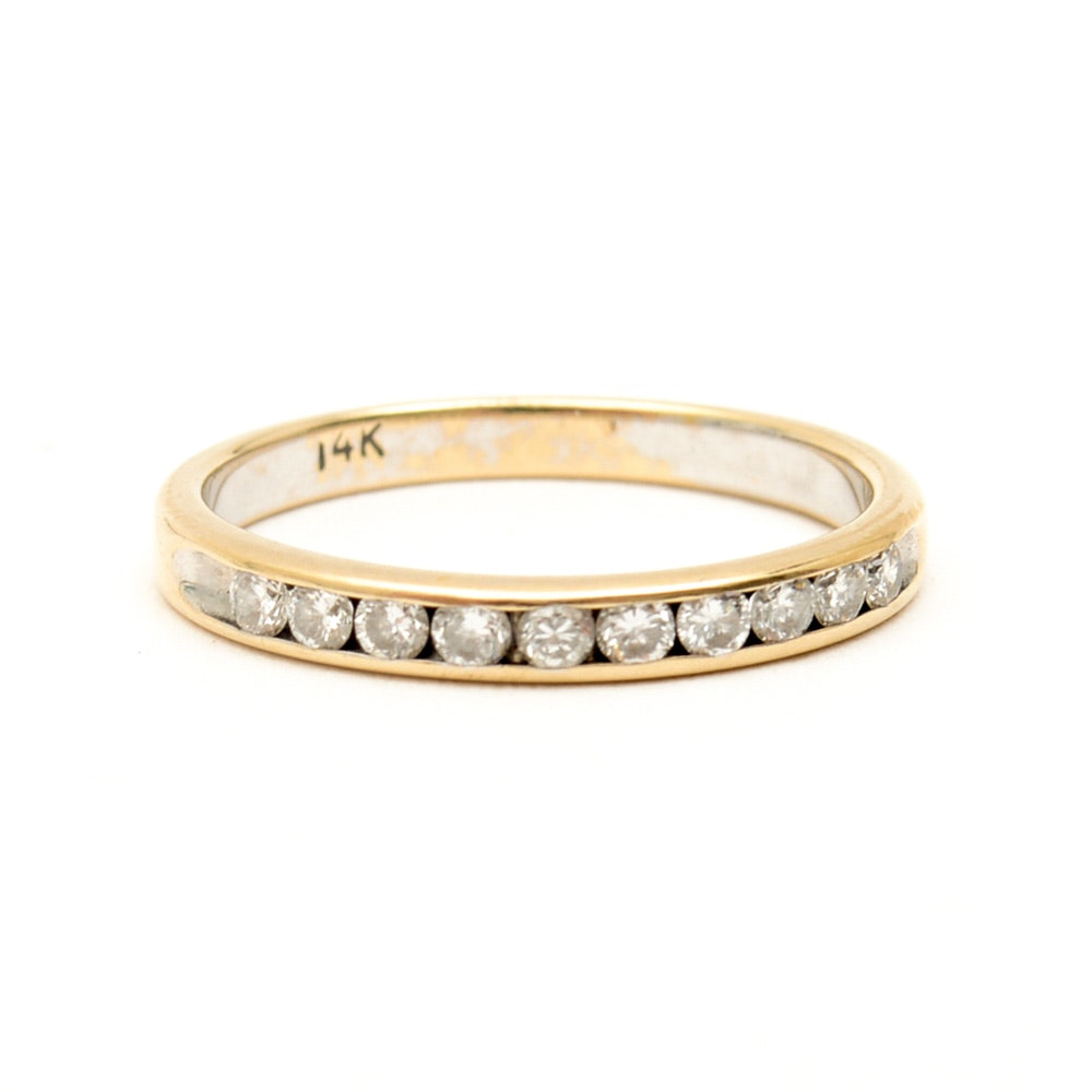 14K Yellow Gold and Channel Set Diamond Band