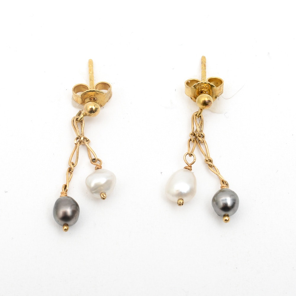 18K Yellow Gold and Freshwater Pearl Multi-Strand Drop Earrings