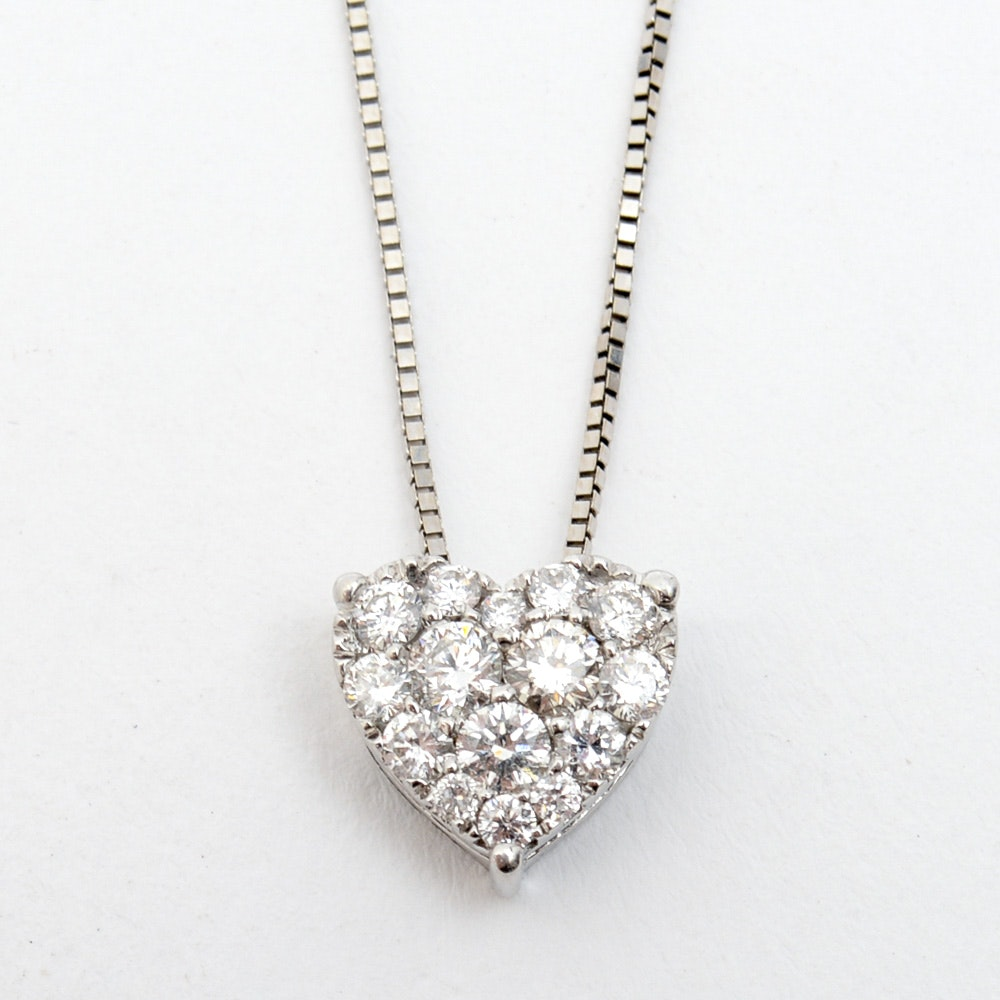 14K White Gold and Pavé Set Diamond Heart Pendant Necklace