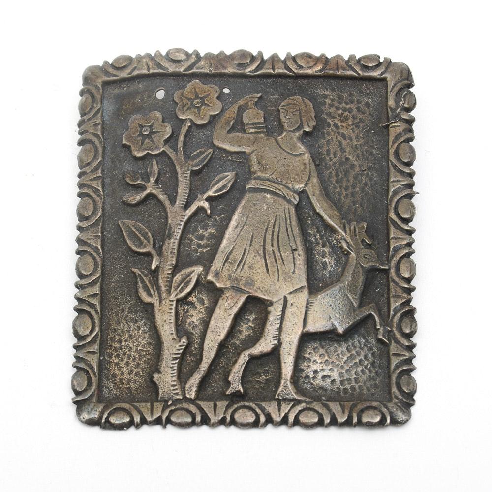 Vintage Hand Carved Sterling Silver Brooch