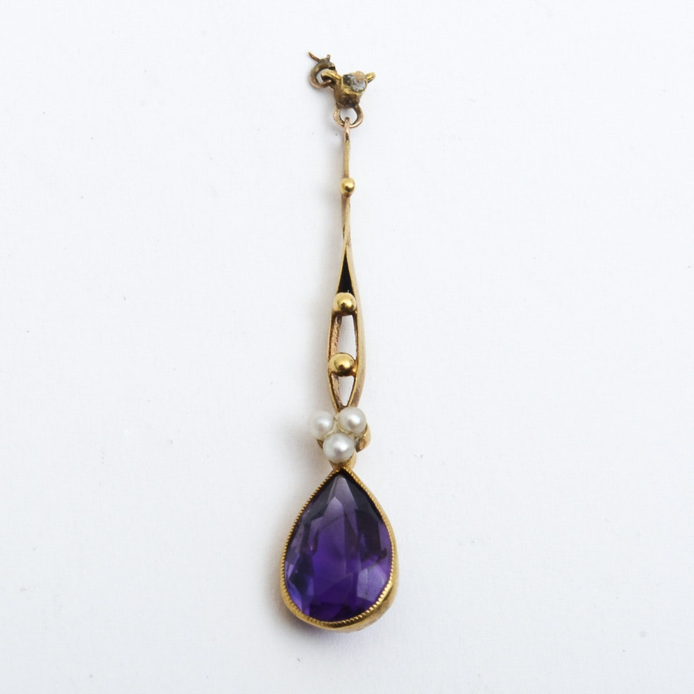 Antique Victorian 18K Yellow Gold, Amethyst, and Seed Pearl Drop Pendant