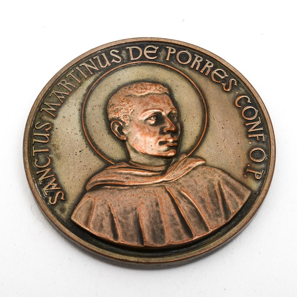 Vintage 1962 Bronze Saint Martin de Porres Medallion