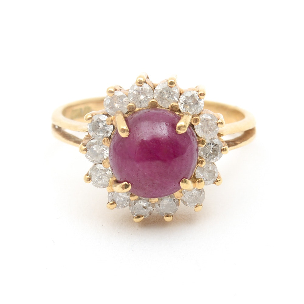 18K Yellow Gold, Ruby, and Diamond Halo Ring
