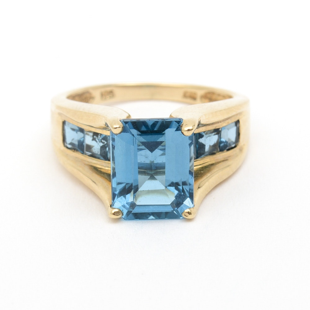 10K Yellow Gold and 5.00 CTW Blue Topaz Cathedral Ring