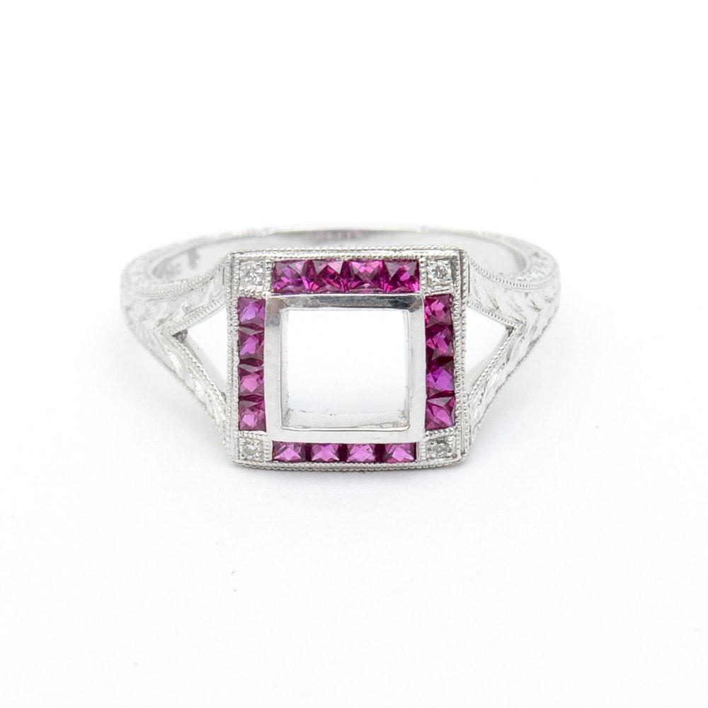 Barry Kieselstein-Cord 18K White Gold, Ruby, and Diamond Semi-Mount