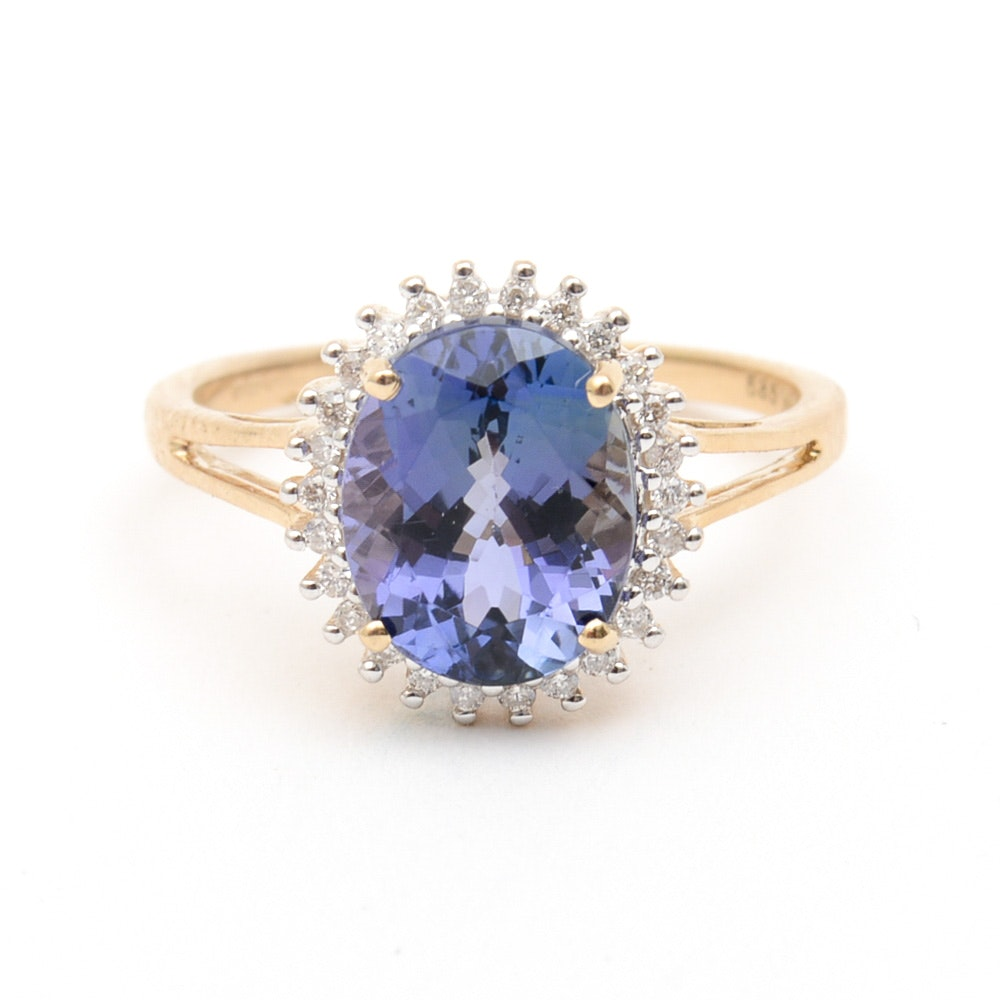 14K Yellow Gold, Sapphire, and Diamond Halo Ring