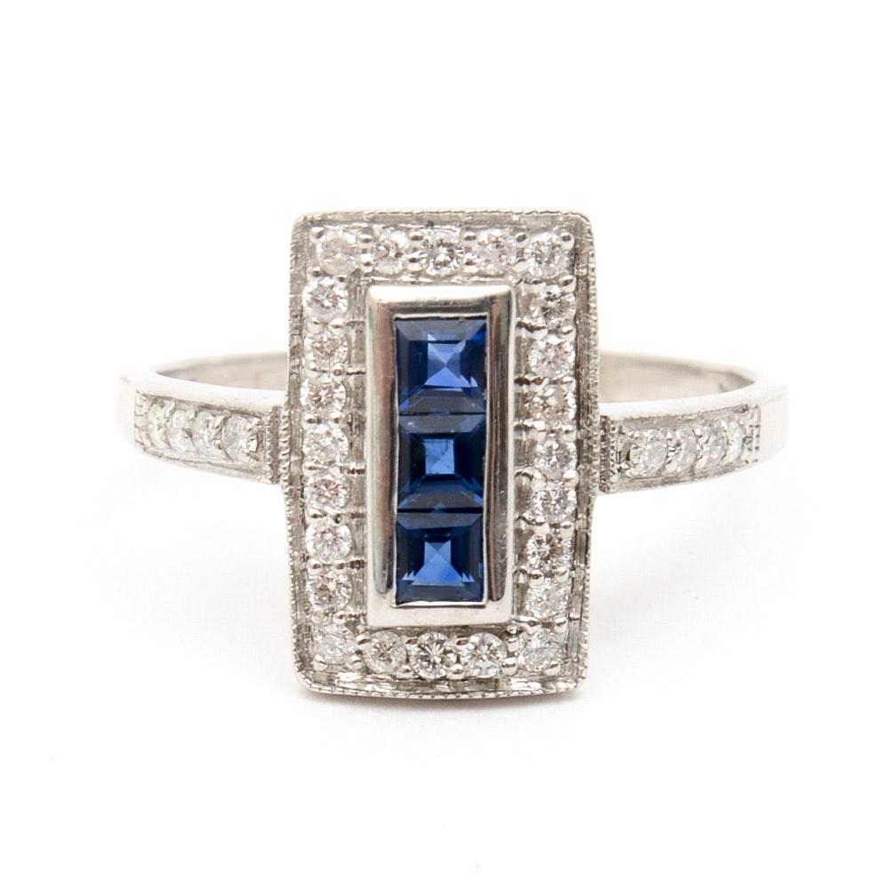Bita Pourtavoosi 14K White Gold, Sapphire, and Diamond Ring