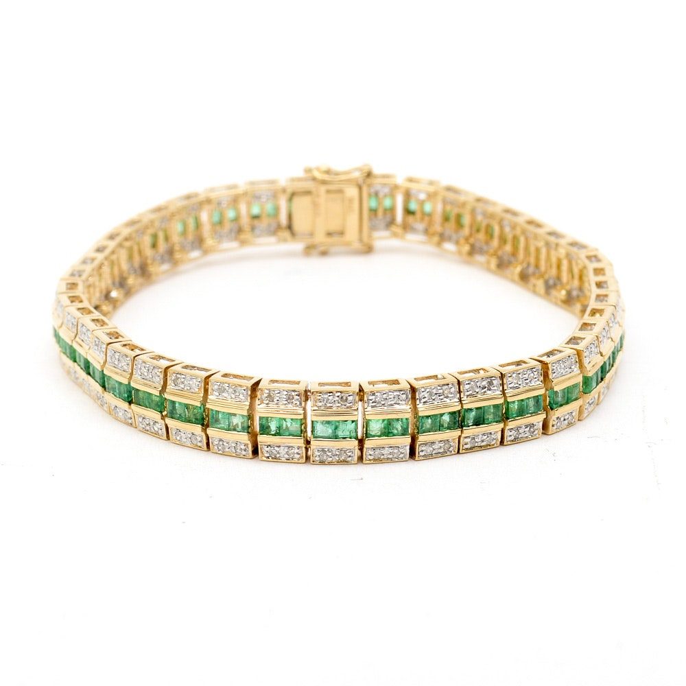 14K Yellow Gold, Emerald, and 2.00 CTW Diamond Bracelet