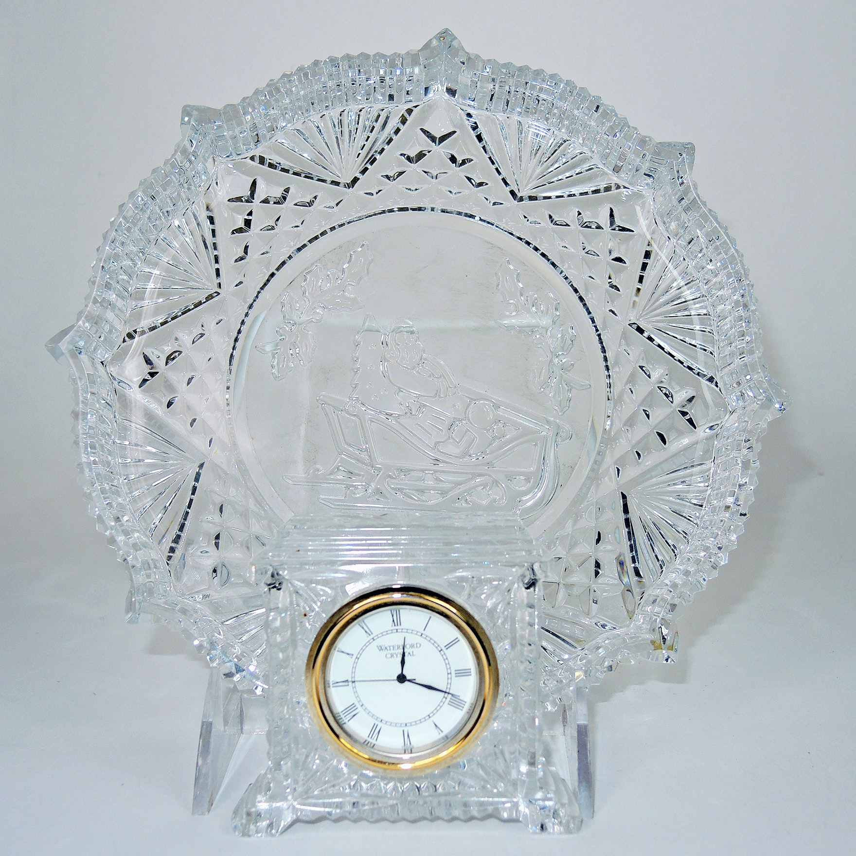 """Waterford Crystal """"Songs of Christmas"""" Plate and """"Pavillion"""" Desk Clock"""