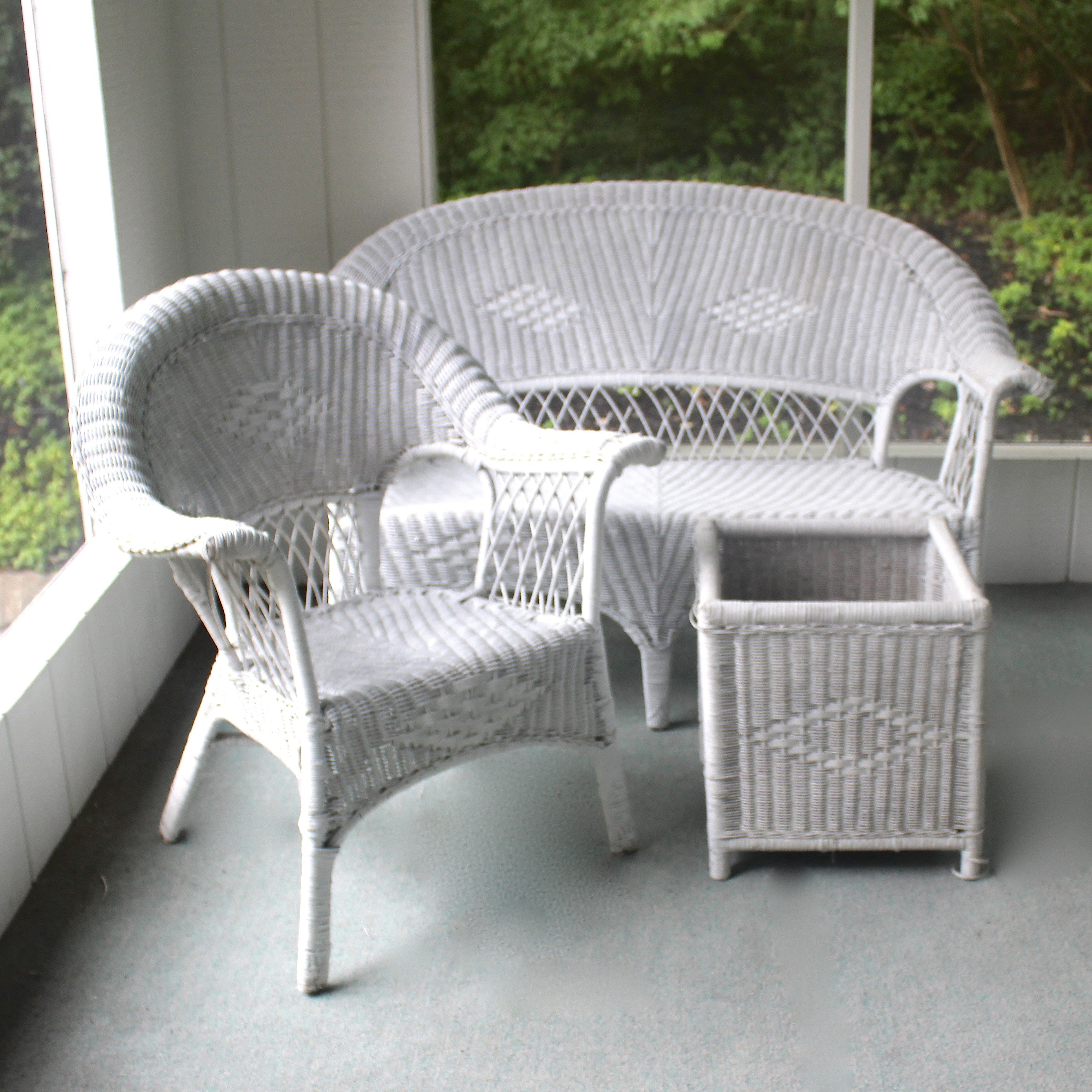 White Wicker Patio Furniture with Loveseat, Chair and Planter