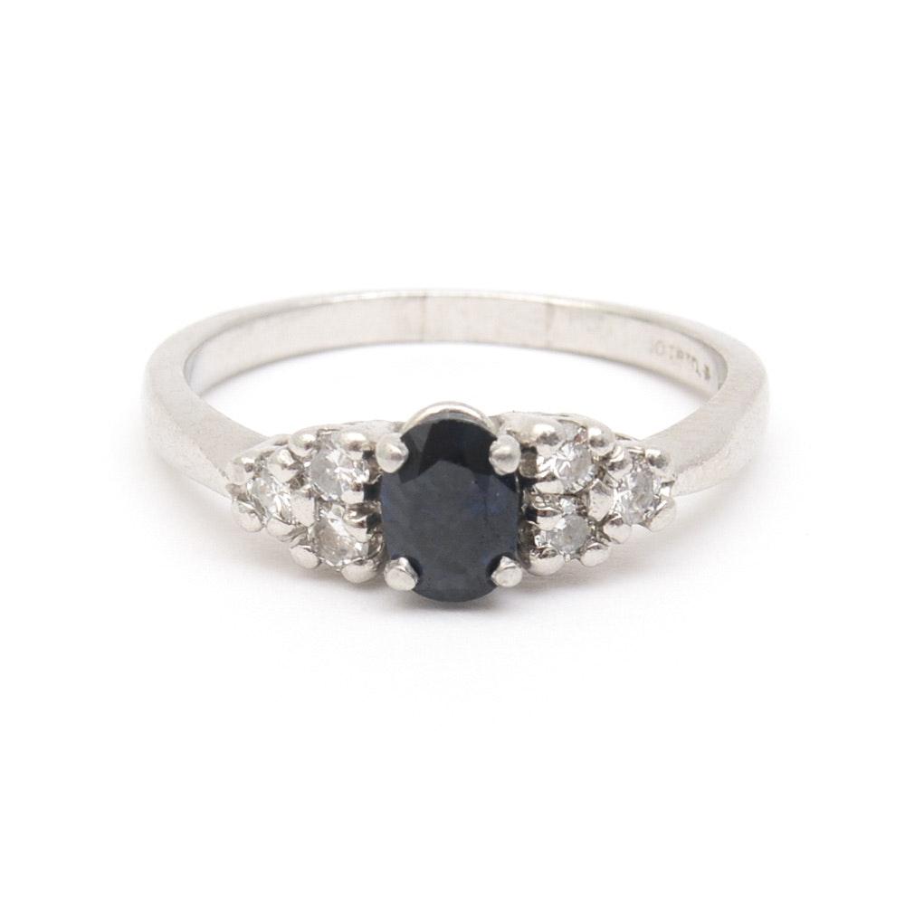 Platinum, Sapphire, and Diamond Engagement Ring