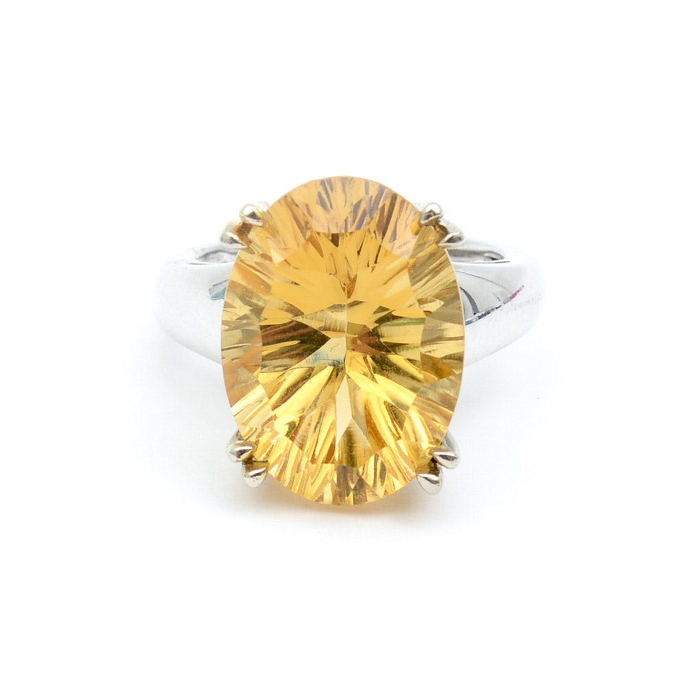 14K White Gold and 15.00 CTS Citrine Cocktail Ring
