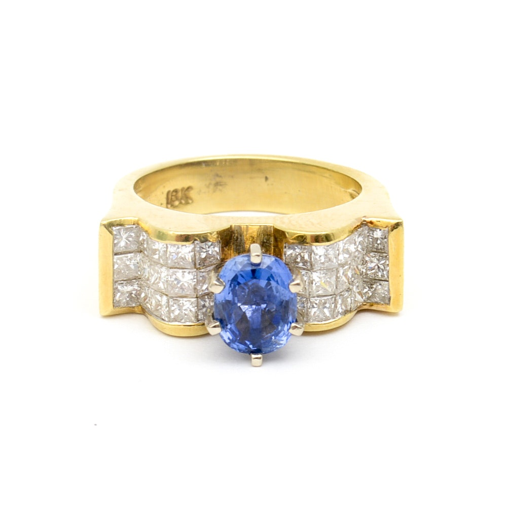 18K Yellow Gold, Sapphire, and 2.10 CTW Diamond Cocktail Ring