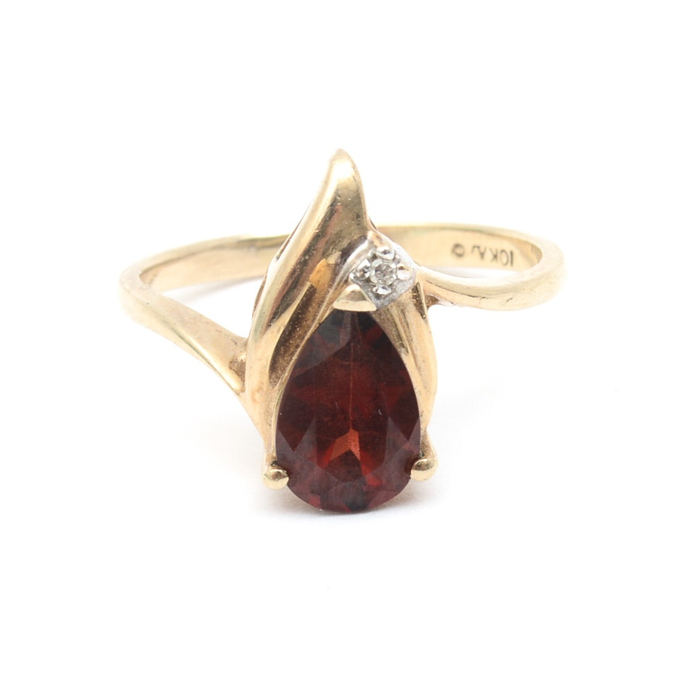 Vintage 10K Yellow Gold, Garnet, and Diamond Bypass Ring