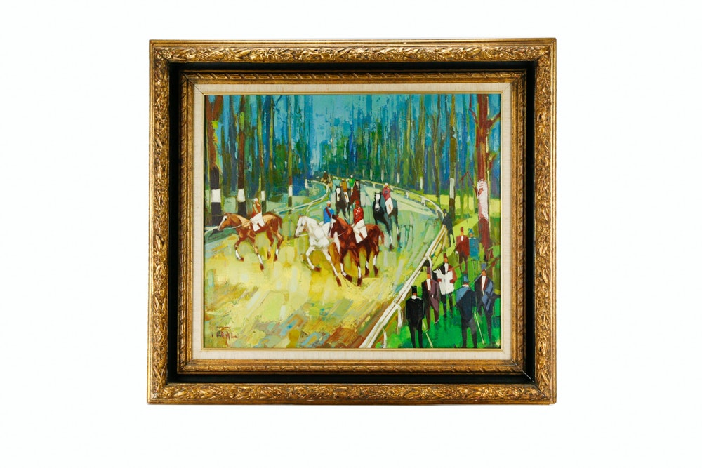 Fidal Framed Oil on Canvas of Horse Racing