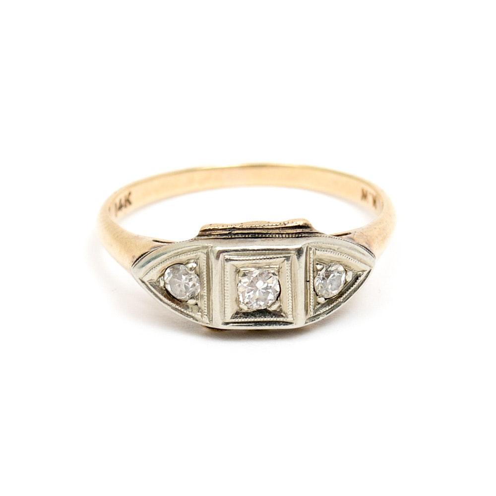 Retro 14K Two-Tone Gold and Diamond Three Stone Engagement Ring