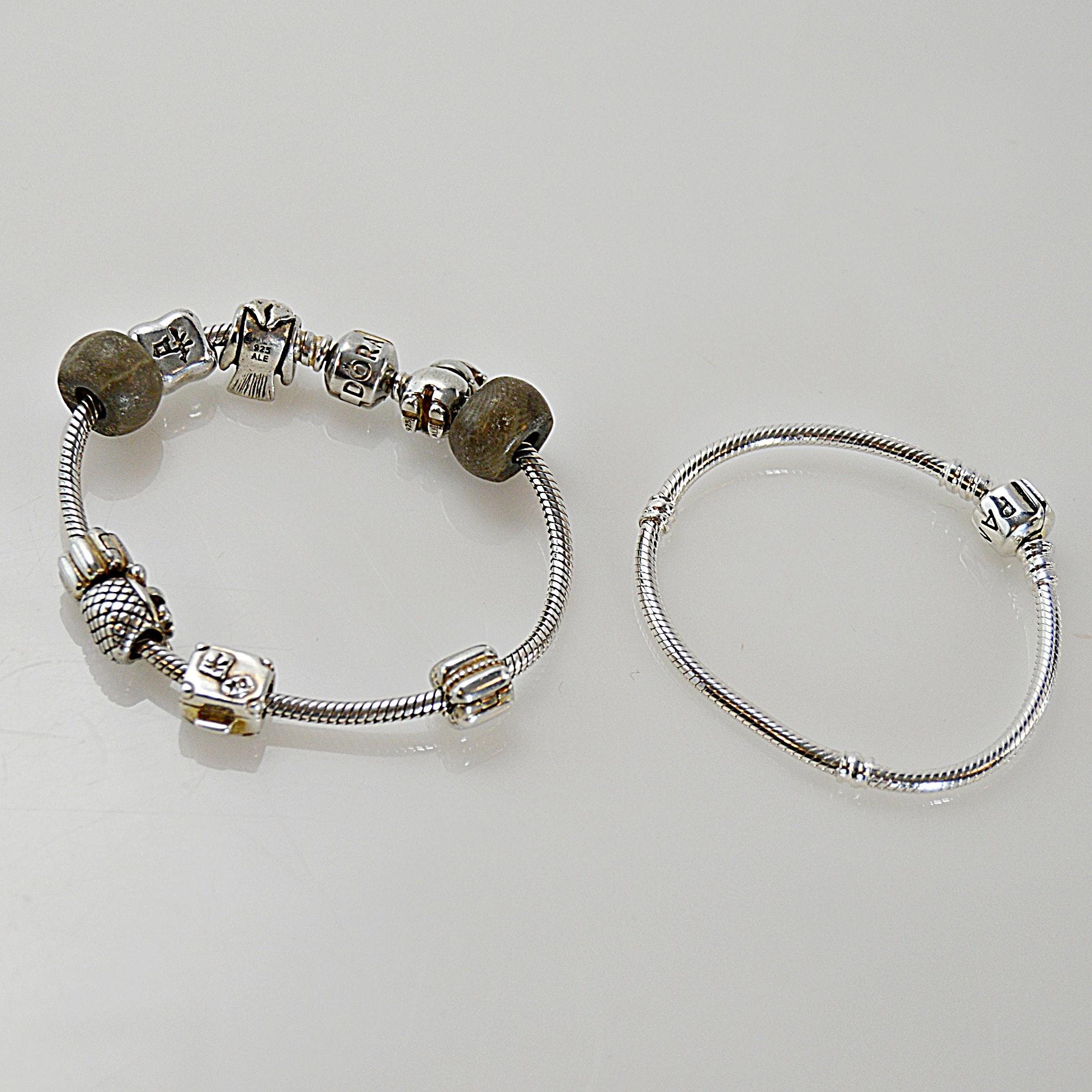 Two Pandora Sterling Silver Bracelets