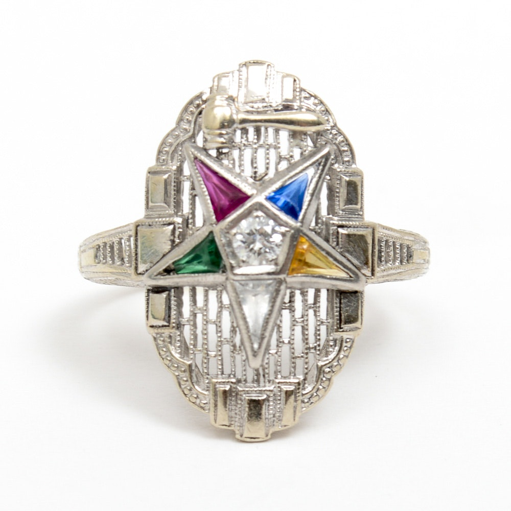 14K White Gold, Diamond, and Glass Order of the Eastern Star Masonic Ring