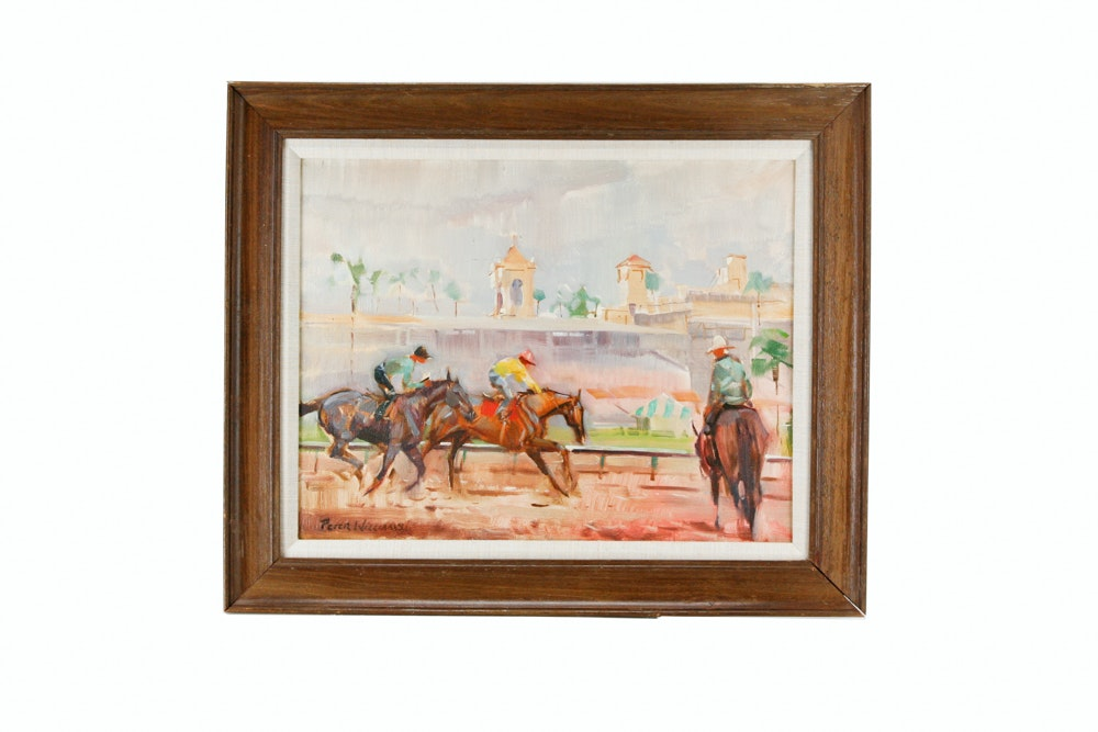 """Peter Williams Oil Painting on Canvas """"Del Mar Workout"""""""