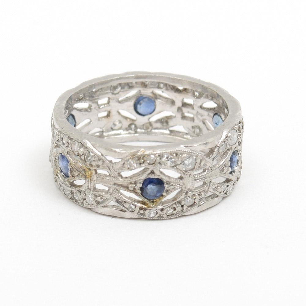 Platinum, 1.00 CTW Diamond and Sapphire Milgrain Barrel Ring