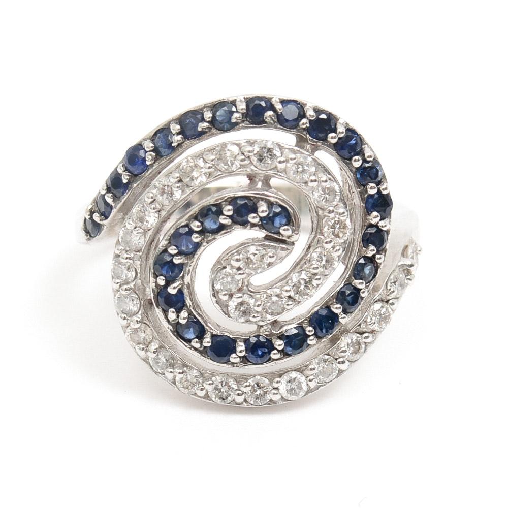 Effy 14K White Gold, 1.00 CTW Sapphire, and 1.00 CTW Diamond Spiral Ring